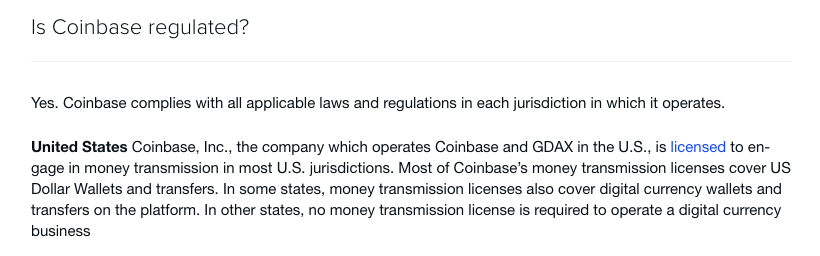 coinbase regulation